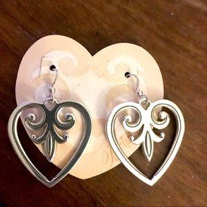 Brighton Jewelry - Brighton Palace Heart Dangle Silver Earrings NWT